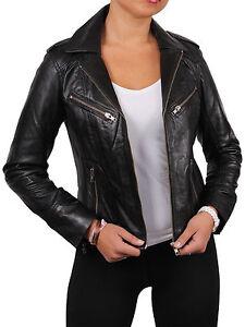 check out a67c2 a5a61 Dettagli su Brandslock Donna Originale Giacca di pelle da Motociclista  Bomber Vintage
