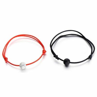 Wrist Bracelet Men Women Matte Lava Stone Natural Bead Valentines Couple 2pcs