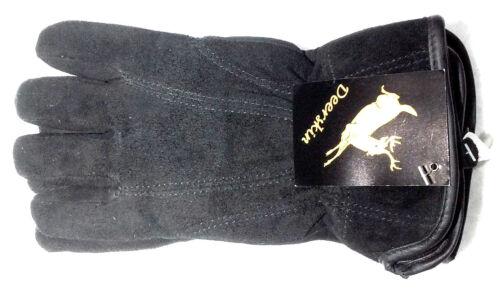 Ladies Deerskin Luxury Winter Suede Dress Driving Glove Black Lined Insulated