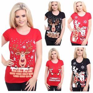 Ladies-Christmas-T-Shirt-Womens-Reindeer-Xmas-Snowflake-Jersey-Cap-Sleeve-Top