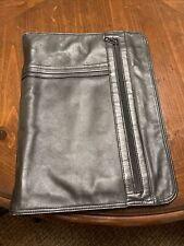 Vintage Scully Black Leather Zipper Portfolio Planner Organizer