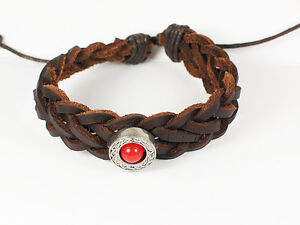 Viking Leather Bracelet Wristband With A Celtic Dragons Eye