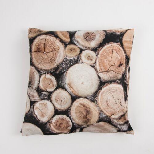 Schöner Leben Kissenhülle Holz Holzstämme braun 50x50cm