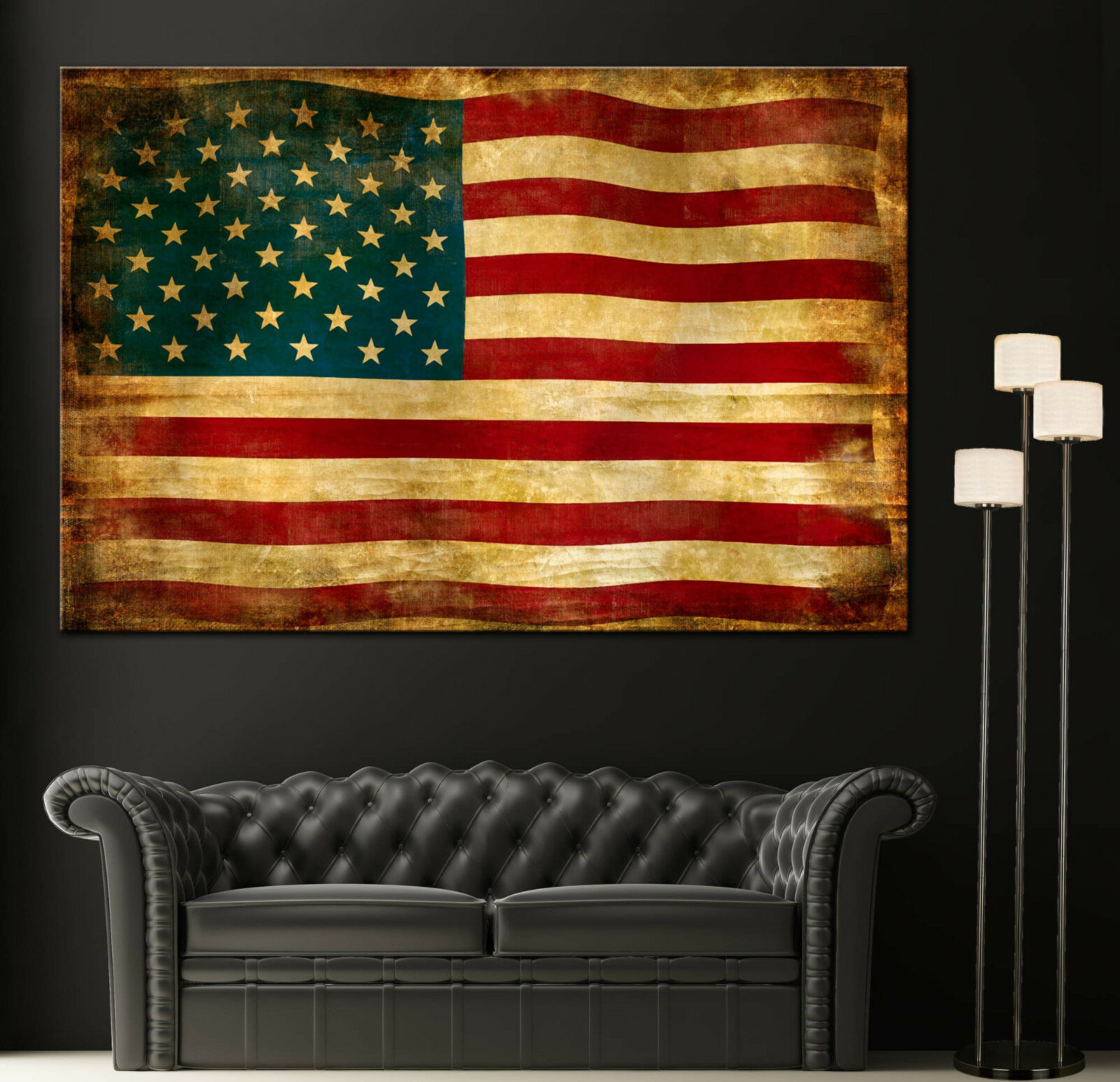 Canvas Giclee Prints Art Vintage American Flag Photo Coloreeful Print Decor rosso