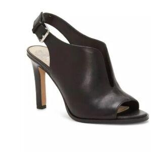 Vince-Camuto-Womens-nachila-Leather-Peep-Toe-Casual-Slingback-Black-Size-7-NIB