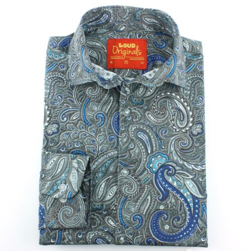 Shirt Tailored Fit Loud Paisley Fancy Mens Gray Originals Retro Psychedelic PxTdaWnqn