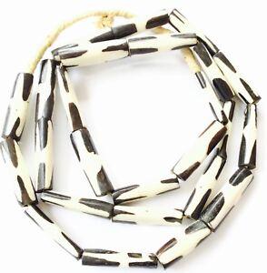 Details about Kenya black and white African batik Bone African Trade Beads
