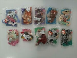 2000-McDonald-039-s-Happy-Meal-Toys-Complete-Set-of-10-TY-Beanie-Babies-Plush-Dolls