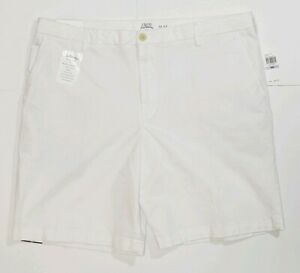 Izod Saltwater Size 36 White Flat Front Stretch Casual Shorts New with $55 Tags