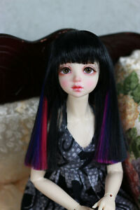 1-4-6-7-034-BJD-DOLL-WIG-MSD-UNOA-FAIRYLAND-BLACK-NEON-PINK-BLUE-PURPLE-JR-152-USA