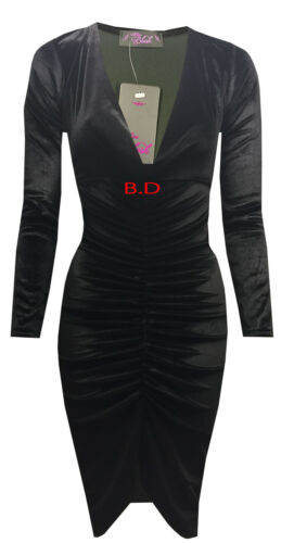New Womens Ladies Kim Velvet Plunge Neck Ruched Stretch Midi Bodycon Party Dress