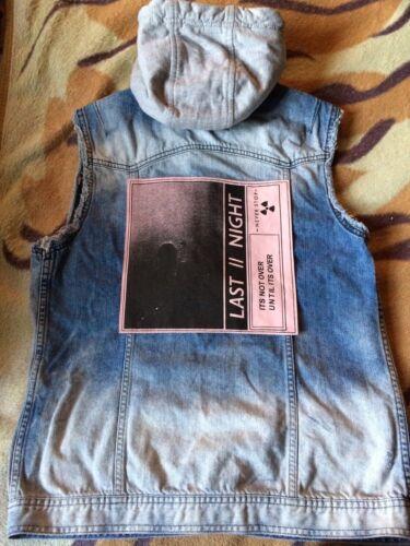 Night giacca con Last Blue Island River cappuccio Patch smanicato Distressed jeans di wUSEx6q0