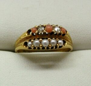 1876-Early-Victorian-Unusual-Coral-Diamond-And-Seed-Pearl-Double-Ring-Size-O