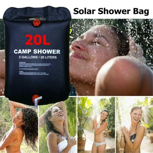 20L Camping Shower Bag Solar Heated Water Pipe Portable Outdoor Hiking Travel