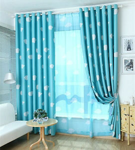 blockout eyelet curtain kids boys girls sky blue blackout