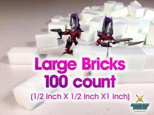 "High Density XPS Hobby Foam Bricks 100 Count (Large 1/2"" X 1/2"" X 1"") Wargaming"