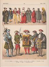 Deutschland Mode um 1500 - 1500 Trachten Jude Patrizier Luther LITHOGRAPHIE 1882