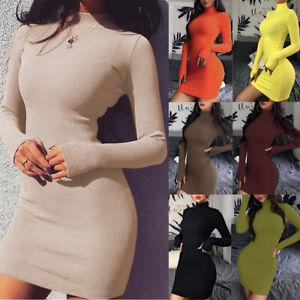 Women-LADY-Turtleneck-Bodycon-Dress-Fashion-Long-Sleeve-Sexy-Party-Mini-Dresses