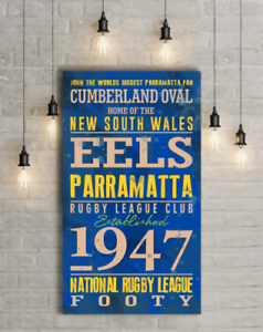 PERSONALISED-PRINT-STRETCHED-CANVAS-EELS-PARRAMATTA-NRL-FOOTY-GIFT-FOOTBALL-FUN