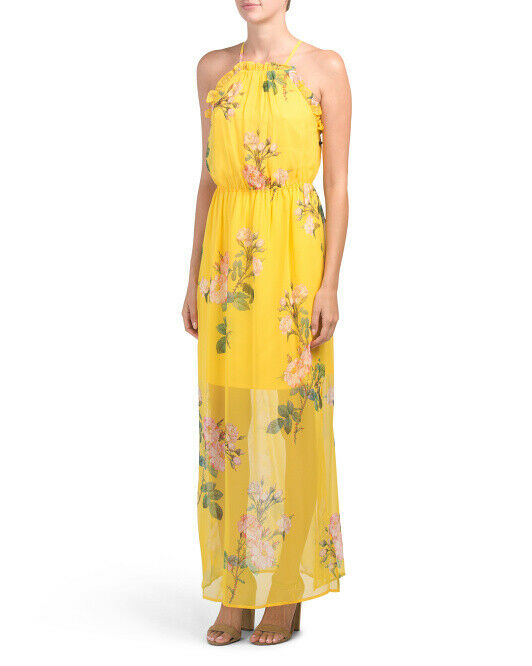 ADRIANNA PAPELL NWT Garden Party Yellow Chiffon Flowing Floral Dress 6