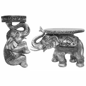 ELEPHANT SIDE TABLE SCULPTURE 51 36CM ELECTROPLATED RESIN
