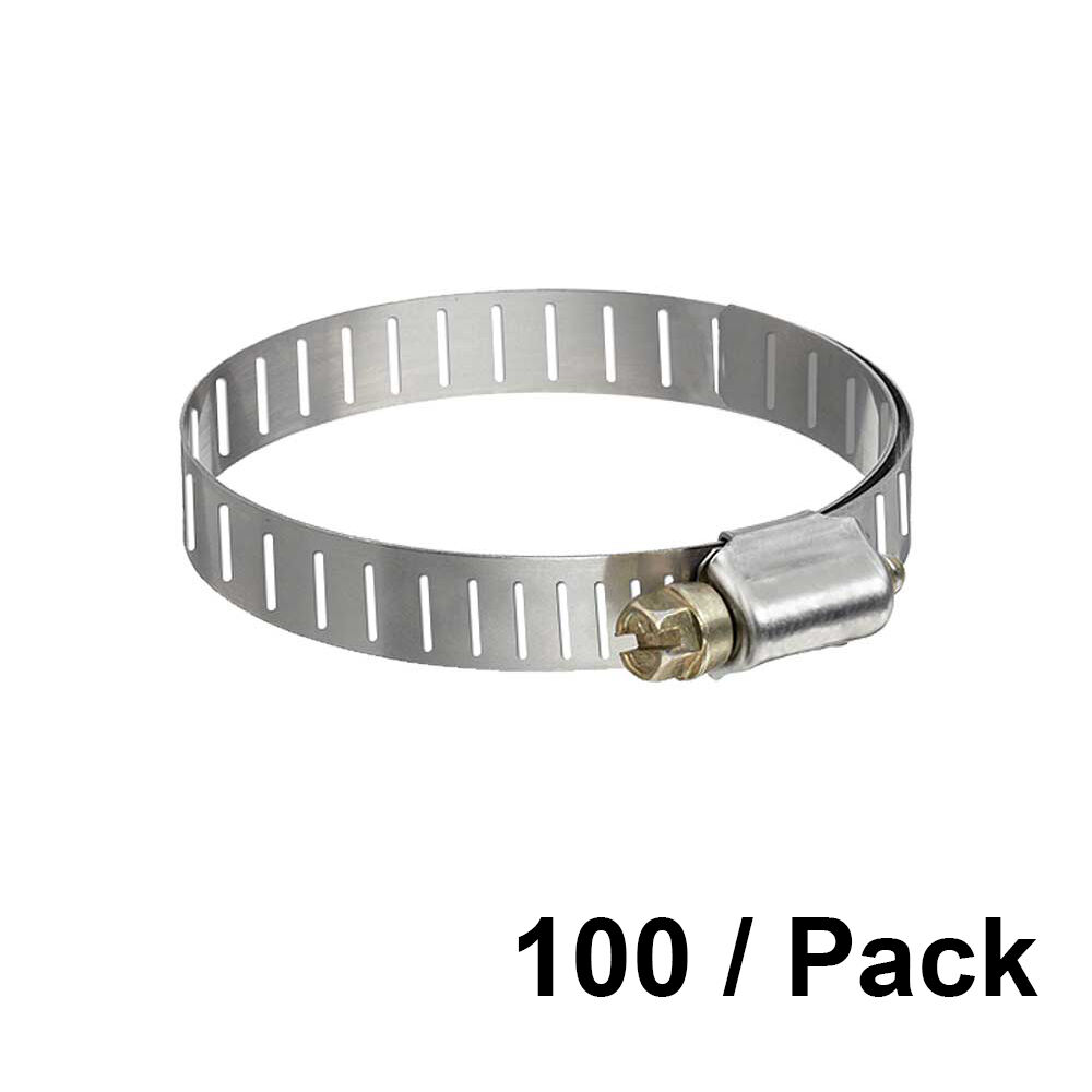 1 13 16  to 2 3 4  OD Worm Gear Stainless Steel Pipe Fitting Hose Clamp 100 PK