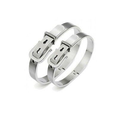 Belt buckle shaped Silver titanium steel Men's Women's Lover Couple Bracelet