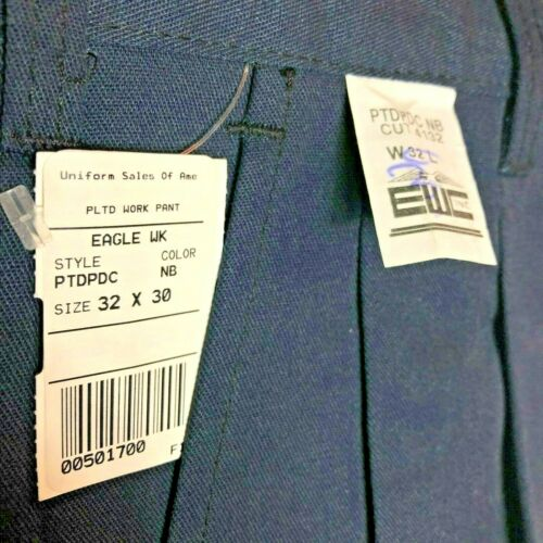 New Men/'s Eagle Work Clothes Navy Blue Pleated Pants EWC Machine Washable NWT