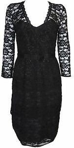 New-Basque-Womens-Dress-Lace-Long-Sleeves-in-Black-Colour-Size-8