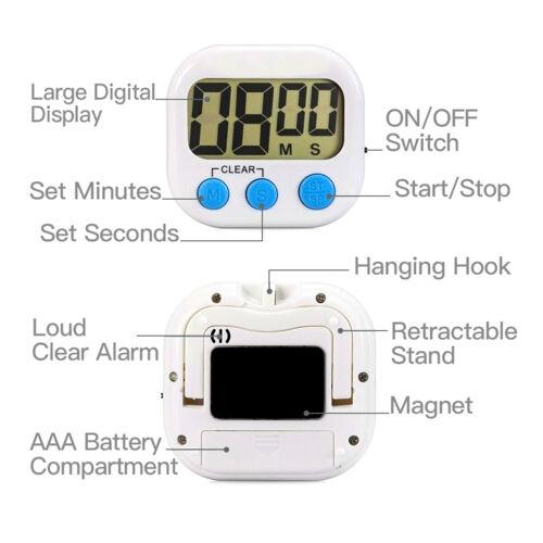 Big Digits Loud Alarm Magnetic Backing Stand LCD Display Digital Kitchen Timer