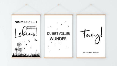 Kunstdruck A4 Spruch 3er Set Minimal 41 Wandbild Deko Plakat Modern Poster Print