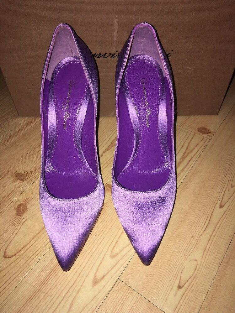 Gianvito Rossi Milano violet Jeweled Satin Pumps 35.5 5 1 2 Barneys  598
