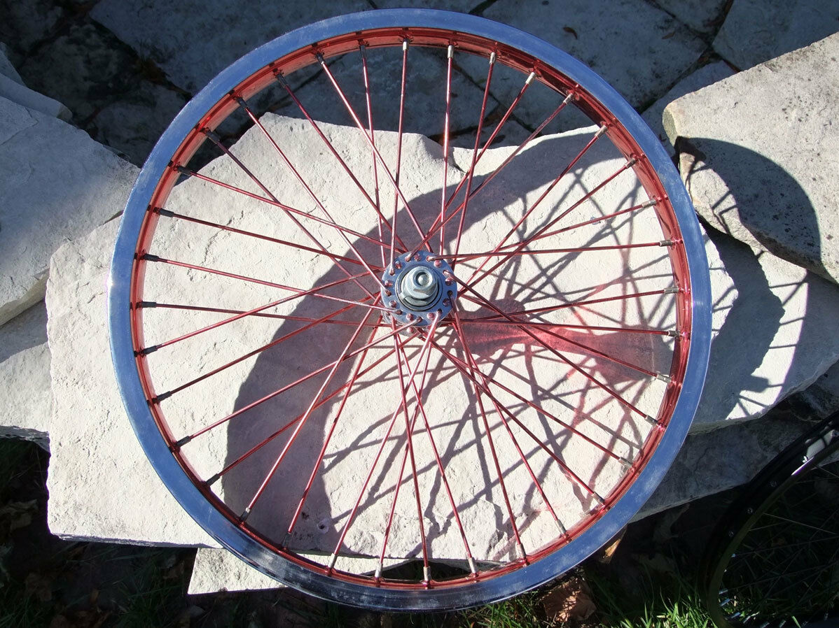20 x 1.75  CMC Front Wheel, Single Wall, BMX Bicycle, Red Anodized Rims & Spokes