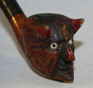 Antique Briar Pipe With Carved Devils Head Bowl Glass Eyes