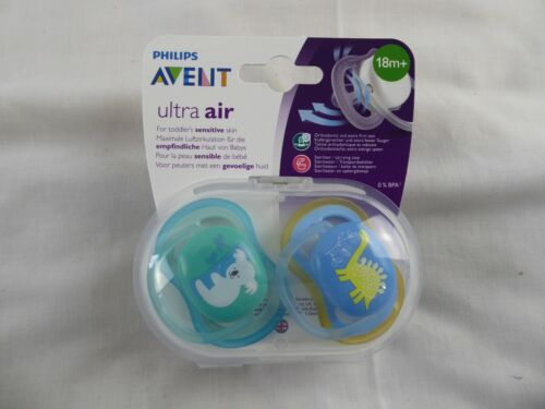 PHILIPS AVENT ULTRA AIR SOOTHERS DUMMIES WITH STERILISER CARRYING CASE 18M+ NEW