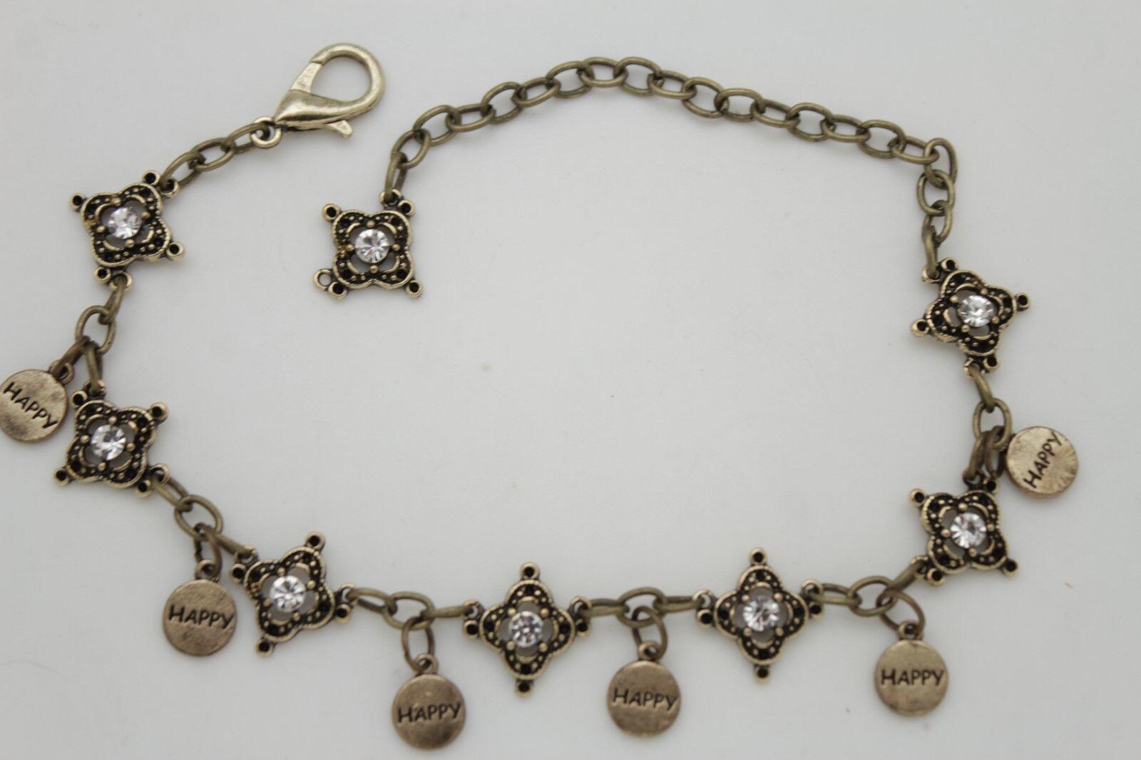 Women Biker Boot Bracelet Antique Gold Metal Chain Link Anklet Shoe Happy Charms