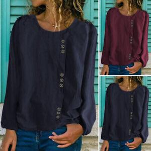 Mode-Femme-Loisir-Simple-Ample-Manche-Longue-Col-Rond-Chemise-Haut-Shirt-Plus