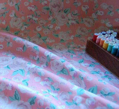Extra Wide 100/% Cotton Fabric Vintage Roses Peach by HALF METRE #035