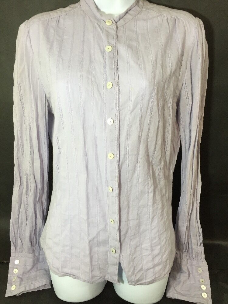 Marc Jacobs Blouse 8 Purple Long Sleeves Button Front Cotton Made in USA