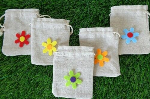 5x Gift Bags Flower Decoration Mini Easter Treats Gift Pouches Cotton 7.5 x9cm