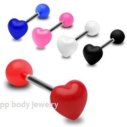 """14G~5//8/"""" Surgical Steel Shaft with UV Ball and Heart Dome Top Tongue Barbell"""