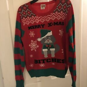 Christmas Cat Sweater.Details About Spencer S Unisex Red And Green Merry Xmas Bitches Christmas Cat Sweater
