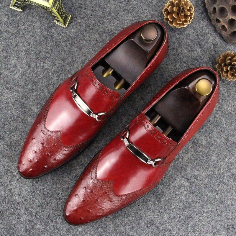 Zapatos De Cuero Moda Nuevo Hombre Slip On Mocasines De Negocios Boda Vestido Formal Real