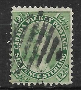 CANADA-Scott-18-Queen-Victoria-12-1-2-cents-yellow-green-Used-VG-F