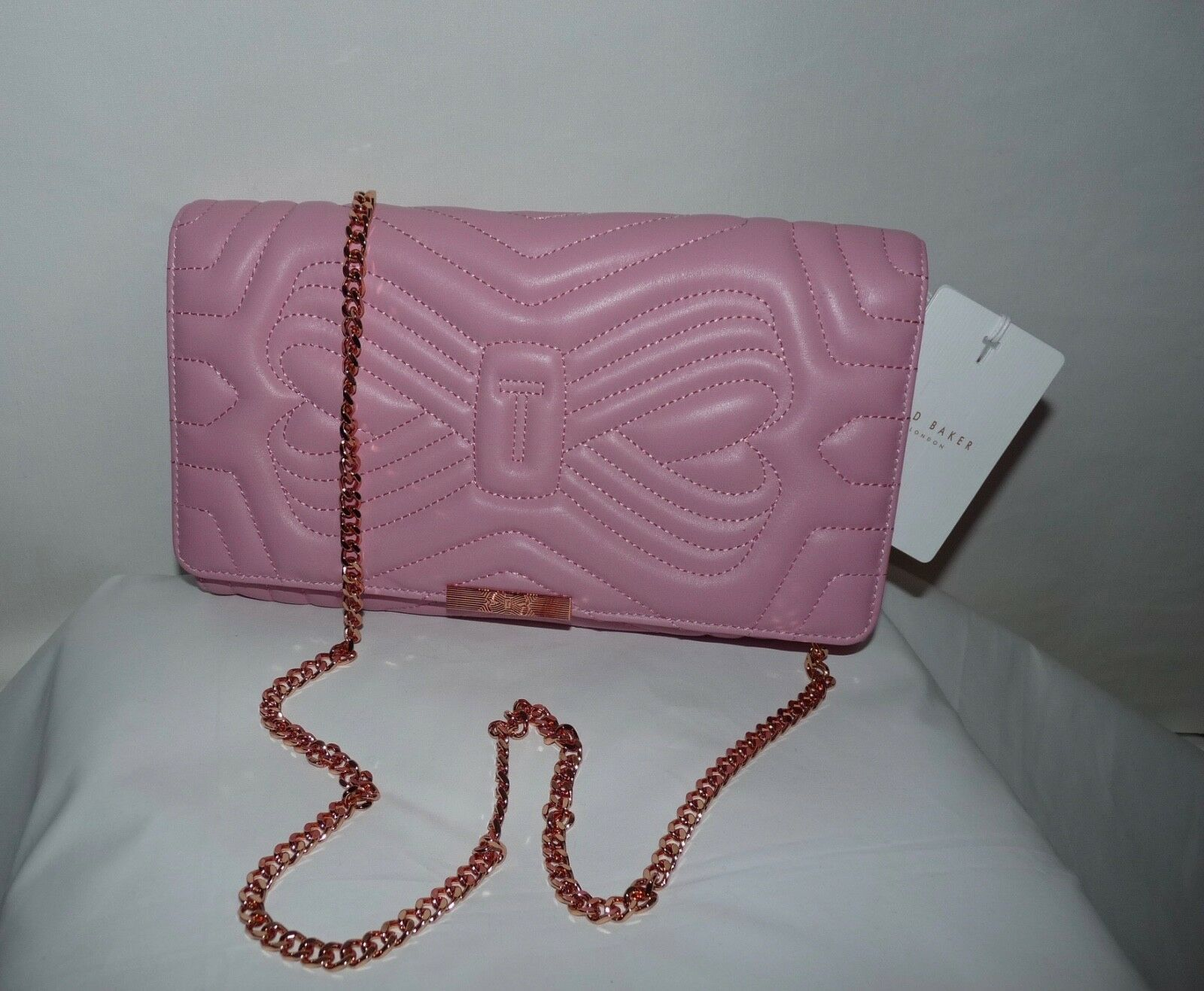 Ted Baker London Ciliaa Quilted Bow Leather Oversized Clutch Shoulder Bag Pink