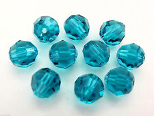 3 6mm Swarovski 5000 Crystal Rounds: Blue Zircon