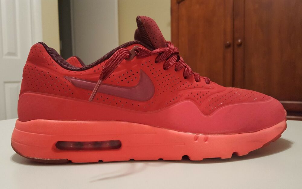 Nike Air Max 1 Ultra Moire, 705297-600, homme fonctionnement chaussures, Taille 11.5, Gym rouge