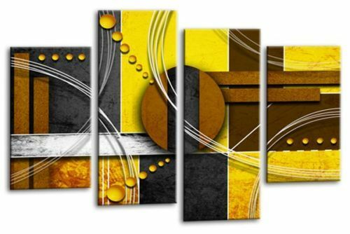 Large Abstract Circles Art Picture Yellow Black Grey Wall Canvas Split Panel