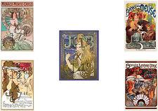 Set of Five (5) Alphonse Mucha - Art Nouveau - 11x17 inch Posters Prints