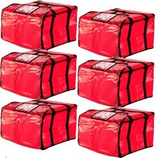 """Red 20/"""" x 20/"""" x 12/"""" Vinyl Insulated Pizza Delivery Bag"""